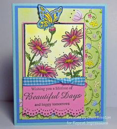 Beautiful summer garden card created for us by Cheri Weston. Rubber stamps by Repeat Impressions. - http://www.repeatimpressions.com - #repeatimpressions #rubberstamps #rubberstamping  #cardmaking