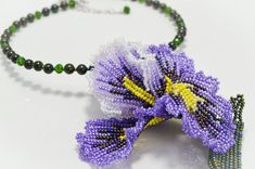 Beaded Iris Necklace, Purple and Green Necklace, Flower Beaded Serpentine Choker, Floral Iris Necklace, Bridal Wedding Fleur-de-lis Jewelry Handmade Shop, Etsy Handmade, Handmade Jewelry, Seed Bead Jewelry, Seed Beads, Gemstone Jewelry, Jewelry Necklaces, Beaded Flowers, Purple Flowers