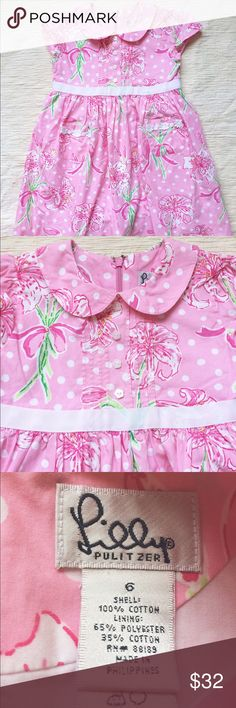 Lilly Pulitzer dress Beautiful Lilly Pulitzer dress with embroidery details, ribbons, Peter Pan collar, fully lined with added layers and zip up back. Lilly Pulitzer Dresses