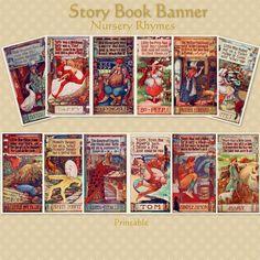 Story Book Banner Mother Goose Nursery Rhymes by hedgehogstudio