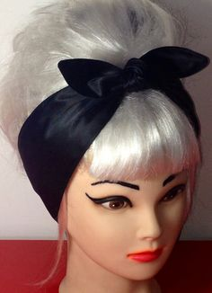 Headband Glossy Black Rockabilly Pinup Vintage by 3DROPSOFPOISON, $11.00
