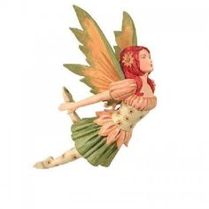 Amy Brown fairy ornament Sunflower Diva measures 5 inches tall, fairy wears peach blouse under corset with sunflower designs and green skirt. Fantasy Creatures, Mythical Creatures, Mythological Creatures, Amy Brown Fairies, Butterfly Fairy, Fairy Figurines, Sunflower Design, Bride Dolls, Fairy Art