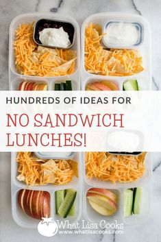 Ideas for lunches without sandwiches - from whatlisacooks.com. Non sandwich lunches. Lunches without bread. Lunch packing tips.
