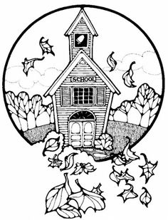 Free, printable building coloring pages and sheets for kids including lighthouse, school house, church, cottage and more.
