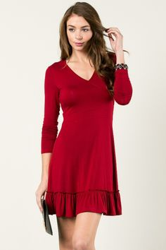 Classic Ruffle V-Neck Dress Red