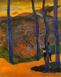 Blue Trees by Paul Gauguin in oil on canvas, done in . Now in Ordrupgaard Collection. Find a fine art print of this Paul Gauguin painting. Paul Gauguin, Henri Matisse, Modern Artists, French Artists, Landscape Art, Landscape Paintings, Landscapes, Oil Paintings, Oil Canvas