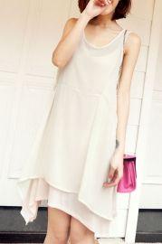 Sleeveless Irregular Hemline Bound Waist Mini Dress - Dresses
