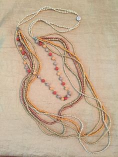 $45 Seed Beads Necklace with Metal Gold Beaded Jewelry
