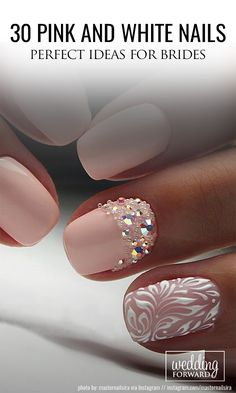 30 Perfect Pink And White Nails For Brides ❤ We have collected temeless ideas of pink and white nails, which enchantingly complete the image of bride. Enjoy the ideas in our gallery! See more: http://www.weddingforward.com/pink-and-white-nails/ ‎#wedding #weddingnails #bridalnailart #pinkandwhitenails