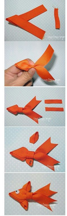 Pool party for kids : DIY Ribbon Fish : these are great for gluing to cards/invitations, or barrettes as adorable fish clips! Fun for kids to make, or as a loot bag favor Ribbon Art, Diy Ribbon, Ribbon Crafts, Ribbon Bows, Ribbons, Band Kunst, Little Presents, Ribbon Sculpture, Bow Tutorial