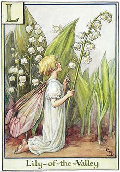 Illustration for the Lily-of-the-Valley Fairy from Flower Fairies of the Alphabet. A girl fairy kneels, facing right. One hand is pointing upwards and in the other she holds a lily-of-the-valley flower.    Author / Illustrator  Cicely Mary Barker