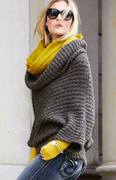 Shabby Sweater Patterns With Black Shades And Yellow Scarf