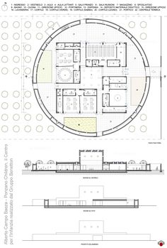 Benetton Nursery drawings plan Module Architecture, Museum Architecture, Architecture Drawings, School Architecture, Architecture Design, Kindergarten Design, Kindergarten Projects, Circular Buildings, Round Building