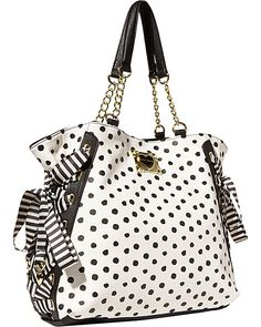 MIX AND MATCH TOTE BLACK POLKA DOT accessories handbags day totes