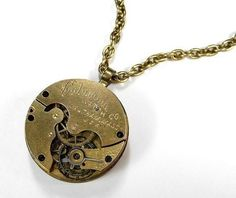 Steampunk Necklace - Vintage Antique Gold Pocket Watch by edmdesigns