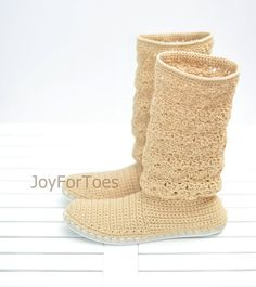 Crochet Boots Shoes for the Street Woman Laced Boho Style Made to Order Lace Boots Cotton Caramel
