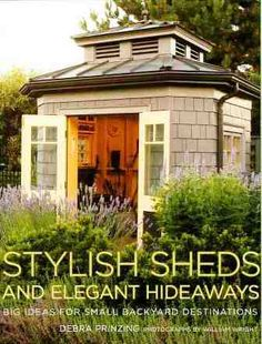 Painted cedar shake shed.