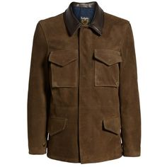 Men's Schott Nyc Suede M-51 Field Coat (42.160 RUB) ❤ liked on Polyvore featuring men's fashion, men's clothing, men's outerwear, men's coats, mens military coat, mens suede coat, mens field coat and mens suede leather coats