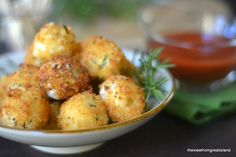 Fried Mozzarella Balls ~These crispy little balls of molten cheese will lure everybody to the appetizer table, use your favorite marinara sauce for dipping!