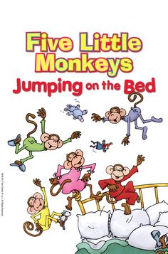 """These jumpy little monkeys just won't settle down! Read the """"Five Little Monkeys"""" sing-along tonight in FarFaria!"""