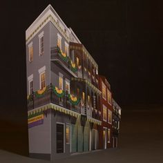 5 ft. 11 in. Bourbon Street Night Small Building 2