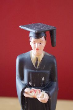 Vintage 1960s Plastic Graduation Cake Topper Graduate in Cap and Gown by retrowarehouse on Etsy