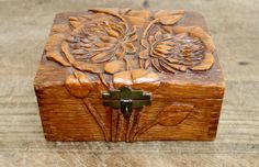Vintage hand carved wooden box wooden box. Perfect to hold something special for a very special person, perhaps a jewelry or a ring.  It would
