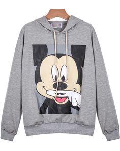 Grey Hooded Long Sleeve Mickey Print Sweatshirt 21.67