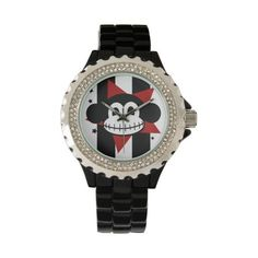 Macabre the Skeleton Monkey Watch ❤ liked on Polyvore featuring jewelry, watches, skeleton watches, skeleton wrist watch, skeleton jewelry, monkey jewelry and skeleton wristwatch