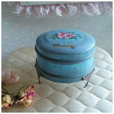 Rare Antique Coney Island Footed Tin Powder by rosepetalsandblooms, $40.00
