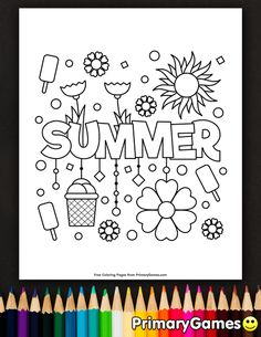 Free printable Summer Coloring Pages eBook for use in your classroom or home from PrimaryGames. Print and color this Summer coloring page.