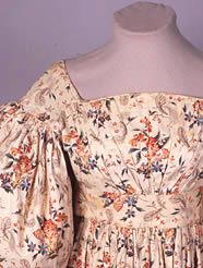 Dress, block printed cotton, 1830-33