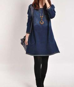 Denim dress Denim shirt long sleeve coat Jean par PerfectChlothing, $64.90