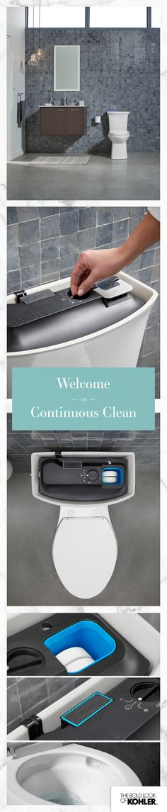 Self-cleaning toilet! Fight germs and grime with every flush automatically with ContinuousClean technology. Small Bathroom, Master Bathroom, Bathroom Ideas, Bathrooms, Bathroom Makeovers, Bathroom Vanities, Bath Ideas, Bathroom Organization, Bathroom Renovations
