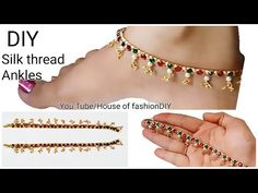 How to make Pearl Anklet making at home // Beaded Anklet simple Tutorial /Bridal. Fancy Earrings, Paper Earrings, Diy Earrings, Diy Necklace, Stone Earrings, Beaded Anklets, Beaded Jewelry, Beaded Bracelets, Diy Bracelet