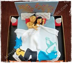 3D Bed Cake (idea: golden girl on the bed, james bond movie)