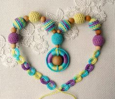 Nursing necklace  Lilac yellow and turquoise wooden от NittoMiton