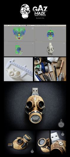 """Steampunk flash drive - Hand made 32 Gb """"GAS MASK"""" memory drive - USB 2 Incredible and unique """"GAS MASK"""" flash drive"""