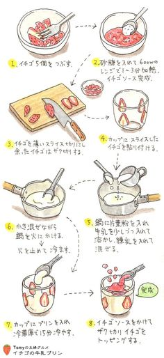Bento Recipes, Healthy Diet Recipes, Sweets Recipes, Cooking Recipes, Desserts, Japanese Sweets, Japanese Food, Cartoon Recipe, Recipe Drawing