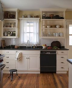 Greek Revival Farmhouse Interior | was completely renovated, but the new cabinets evoke a true farmhouse ...