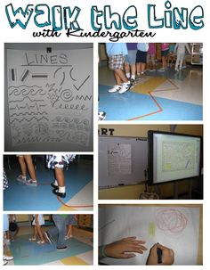 Apex Elementary Art: Walk the Line.  Tape down lines on the floor and have the kinders walk around following the different types of lines.  Activity for a line project. Can you say excellent incorporation of movement for those with that intelligence. Montana B