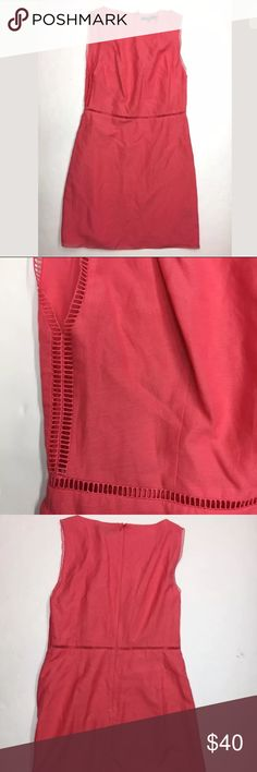 Tibi Coral Salmon Pink Sleeveless Silk Blend Dress Tibi Coral Pink Lattice Lace Peekaboo Trim Sleeveless Sheath Silk Dress  Sz 2  67% Cotton, 33% Silk  In excellent preowned condition; gently worn with no flaws of note. Tibi Dresses