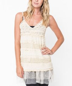 Another great find on #zulily! Ivory Crochet Ruffle Tunic - Women #zulilyfinds
