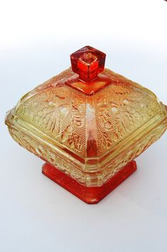 Vintage Amberina Carnival Glass Candy Dish.