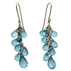 bead dangle earrings | 14K Gold Blue Topaz Grape Beaded Dangle Earrings - Fire & Ice, Inc