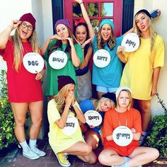 Disney Costumes This Halloween costume is ideal for big groups of friends. Each of you can pick a dwarf that represents you—mine would probably be sleepy. - If you're a Disney addict, these 23 less-common costume ideas are sure to spark your interest. Funny Group Halloween Costumes, Hallowen Costume, Cute Costumes, Halloween Outfits, Diy Halloween, Woman Costumes, Couple Halloween, Zombie Costumes, Frozen Costume