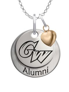 Our beautiful layered charm set featuring your school logo on the top charm, Alumni on the bottom charm, and accented with the perfect little gold plated heart. We use the finest sterling silver and combine with high tech laser technologies to create this personalized collegiate necklace collection.