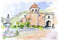 Church and Fountain Pen and Watercolour Wash Pen And Wash, Framed Prints, Canvas Prints, Pen And Watercolor, London City, Fountain Pen, Painting & Drawing, Spanish, Tapestry