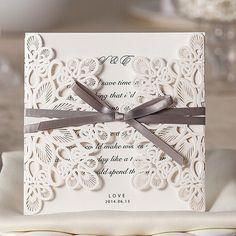 faire part de mariage en dentelle avec ruban gris jm628 partir de 170 faire - Faire Part De Remerciement Mariage Pas Cher