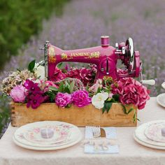 favorite sewing projects Isn't this vintage sewing machine lovely? We would love to spend the day here sewing with this machine. Where is your favorite place to sew? Sewing Machine Tables, Antique Sewing Machines, Vintage Sewing Patterns, Sewing Tables, Vintage Sewing Notions, Diy Sewing Projects, Sewing Projects For Beginners, Sewing Crafts, Vintage Diy